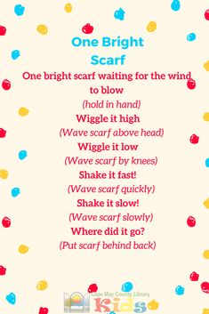 A great interactive scarf rhyme for storytime! Perfect for babies and toddlers up through preschool and kindergarten! - Kids education and learning acts Movement Preschool, Preschool Music Activities, Kindergarten Music, Teaching Music, Preschool Ideas, Winter Songs For Preschool, Creative Curriculum Preschool, Teaching Biology, Stem Activities