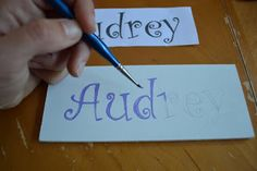 How to do Custom Lettering without a Fancy Machine:  print on paper, scribble back with pencil, trace, and you get a nice outline for you to paint!