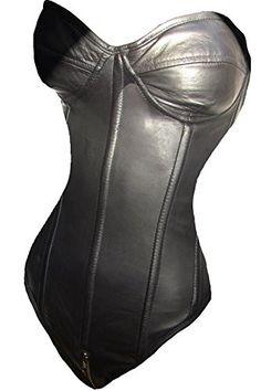 BH Leder Anzug Body catsuit Korsage Korsett Cup C 36 M Bügel ECHTES LEDER Damen schwarz Bustier (36)