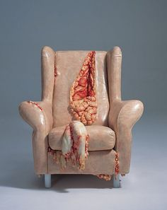 GROSS!!  Edinburgh-based artist Jessica Harrison has created a collection of creepy miniature furniture that look like they have been crafted out of human skin and flesh.