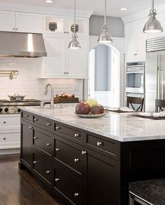 White Kitchen Dark Island kitchensdeane - two tone cabinets. dark island with white