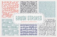 Brush strokes pattern collection by Tasiania on @creativemarket