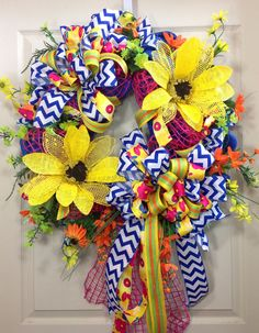 Spring / Summer Mesh Wreath by WilliamsFloral on Etsy, $120.00