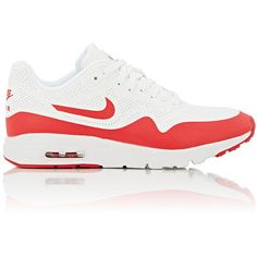 Nike Women's Air Max 1 Ultra Moire Sneakers featuring polyvore, women's fashion, shoes, sneakers, white, lace up sneakers, nike trainers, lace up shoes, flat shoes and nike