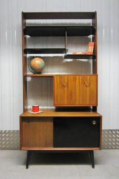Vintage 50s Gomme G Plan Librenza Room Divider Bookcase Shelves Cupboard Cabinet
