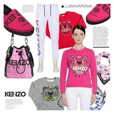 """""""Pretty in Pink Kenzo"""" by luisaviaroma ❤ liked on Polyvore featuring Kenzo, Pink, kenzo, Sweater, luisaviaroma and lvr"""