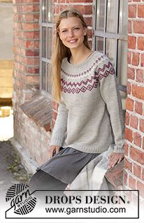 Old mill pullover / DROPS - free knitting patterns by DROPS design Knitted sweater in DROPS Karisma or DROPS Merino Extra Fine. The piece is worked from top to bottom with a nordic patter. Fair Isle Knitting Patterns, Sweater Knitting Patterns, Free Knitting, Crochet Patterns, Drops Design, Crochet Design, Pulls, Knitted Hats, Free Pattern