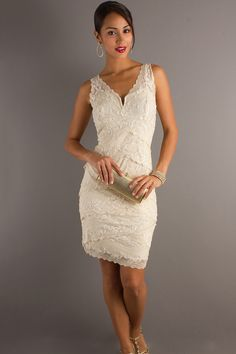 Modest Lace Backless V-neck Sheath Cocktail Dress  SPECIAL PRICE: $115.50