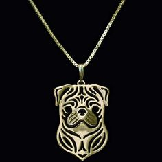 Pug Necklace Gold
