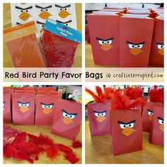 Craft, Interrupted: Angry Birds Party Favors ~ Red Bird Treat Bags & Printables