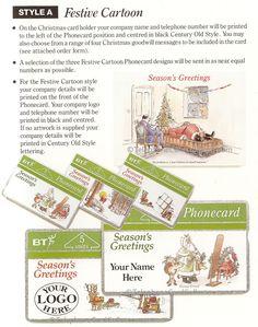 BT Christmas Phonecards - Style A - Festive Cartoon Christmas Card Holders, Christmas Cards, Photo Scan, Marketing Information, Company Names, Festive, Cartoon, Prints, Style