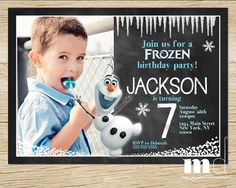 Frozen Birthday Party Invitation with Photo for Boys by MulliganDesign via Etsy