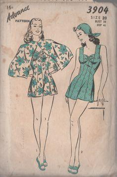 Vintage Advance 3904 Sewing Pattern Smokin Hot Bathing Suit w/