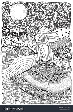 Young Girl With Long Hair. Beautiful, Long Dress In Zentangle Style. Adult Coloring Book Page In A4 Size. Moonlight, Mountains. Doodle, Boho, Zen Art Style. Black And White. Banco de ilustração vetorial 426616288 : Shutterstock