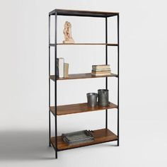 CAROLINA COTTAGE Brayden Chestnut/Black Metal Bookcase at Lowe's. The Brayden tall bookcase is industrial in form and function. We've paired our natural mango wooden shelves with our textured black metal frames to create Tall Bookshelves, 4 Shelf Bookcase, Etagere Bookcase, Metal Bookcase, Black Bookcase, Book Shelves, Wall Shelves, Large Shelves, Bricolage
