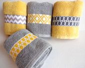 Set of 4 Yellow and Grey Bath Towels, yellow and grey, yellow and gray, yellow bathroom, grey bathroom, decorated towels, hand towel,