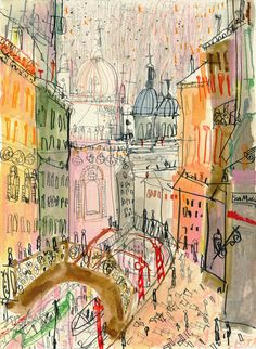Venice signed print by artist Clare Caulfield. City Painting, Watercolour Painting, Painting Prints, Art Prints, Poster Prints, Paintings, Ligne Claire, Art Graphique, Easy Drawings