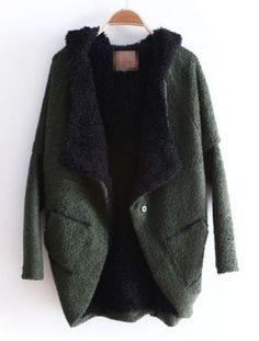 Green Hooded Batwing Long Sleeve Asymmetrical Coat - Sheinside.com ($50-100) - Svpply
