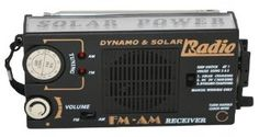 "Solar & Dynamo AM/FM Radio with Flashlight by Solar. $29.95. Perfect for outdoor activities, on the beach, makes a great gift!. Measures about 7"" X 3"" X 1"".. Features a flashlight and emergency flasher.. This solar powered AM/FM radio is very handy to have around in case of power outages or emergencies. The solar panel charges the built-in rechargeable battery and it can also be charged with the hand-crank dynamo."