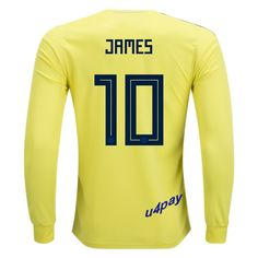 4a9fc4f913c James Rodriguez 10 2018 FIFA World Cup Colombia Long Sleeve Home Soccer  Jersey