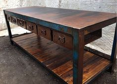 repurposed industrial salvage | Upcycled industrial furniture, workbench by Old Soul, Victoria