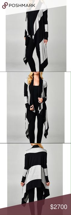 Black and Heather Grey Striped Cardigan 96% Rayon 4% Spandex. Price firm. No trades. Jackets & Coats