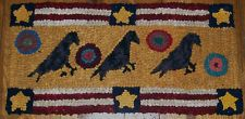 "Primitive Hooked Rug Hooking Kit ""CROWS AND PENNIES"" with cut wool strips"