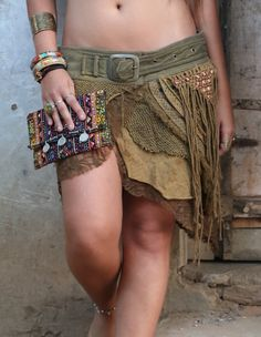 Jungle Skirt with Pockets, Gypsy Festival Goa Festival Fairy Hippie Boho Vintage Wrap Skirt with Belt and Pockets