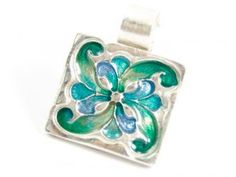 Metal Clay Pendant with colored resin:)