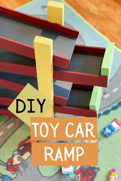 Learn how to make a fun toy car ramp using scrap wood with this full tutorial. Watch cars speed down through multiple ramps. Quick weekend project idea! #diytoycarramp #scrapwood #AnikasDIYLife Kreg Jig Projects, Scrap Wood Projects, Woodworking Projects That Sell, Diy Woodworking, Diy Projects, Colorful Furniture, Diy Furniture, Car Ramp, Weekend Projects