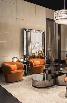Fendi Casa Borromini sofa, Eos armchairs, Constellation coffee table at Maison Objet 2015, Luxury Living Group - Luxury Homes