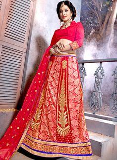 Red Zari Work Designer Lehenga Choli   Wedding Lehenga Choli   Bridal Lehenga Choli   Item Code: 4521