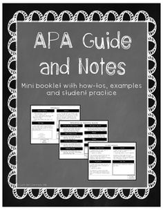 APA Guide and Notes