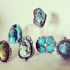 collection of chunky turquoise rings made by my hippie uncle in the '70's