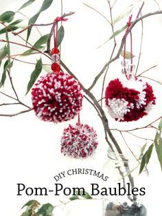 DIY Christmas Pom-Pom Baubles