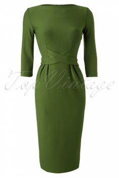 Bettie Page Clothing - 60s Vickie Criss Cross Dress in Vintage Green