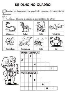 ANIMAIS VERTEBRADOS E INVERTEBRADOS - 35 ATIVIDADES E DESENHOS COLORIR IMPRIMIR | PORTAL ESCOLA