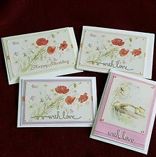 4 Handmade greeting 'The Country Diary of an Edwardian Lady' cards A6 size