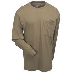 Berne Apparel Men's Green BSM23 LOV Cotton Long-Sleeve Tagless Pocket Tee Shirt