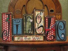 Jingle All the Way Christmas and Winter Sign Word Blocks. $42.00, via Etsy.
