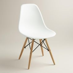 White Molded Evie Chairs, Set of 2 | World Market $139.99 for 2 chairs