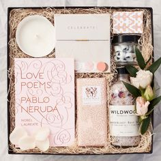 "A LITTLE BOX OF LOVELY GIFTS TO PAMPER YOUR ONE AND ONLY!   ""Love Poems"" book of poetry by Nobel Prize winner Pablo Neruda. Beautiful, classic poems about love"