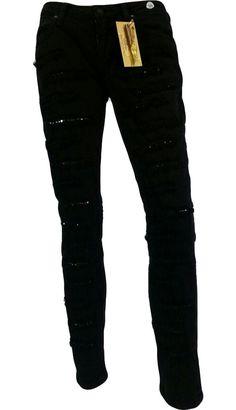 Robin's Jean Women's Diamond Swarovski Jeans B8657BLK-DA3452 Black 30