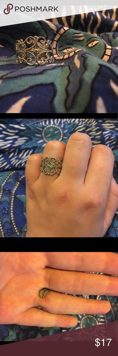Vintage Sarah Coventry Scroll  Delightfully unique and tasteful. Vintage, Sarah Coventry costume jewelry. Adjustable scroll pattern, cuff style ring. Always gets compliments. I've loved it, but I don't wear many other rings now that I'm engaged. I hope you love it! Jewelry Rings