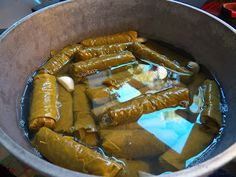 Stuffed Grape Leaves, Syrian Style   Sid's cooking again...