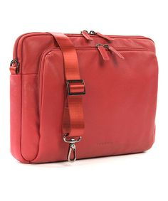 Love this Red 13'' One Premium Leather Laptop & Tablet Bag on #zulily! #zulilyfinds