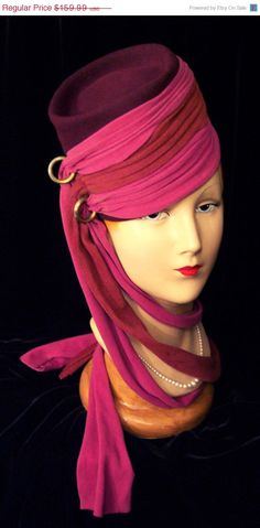 Vintage Magenta Pink Red Scarves Gold Rings Tall Plum Purple Fez Hat 30s 40s