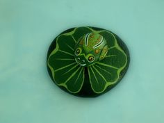Frog on lily pad-painted rocks-summer-dish garden decor by RockArtiste