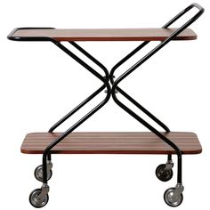 Mid-Century Striped Teak Rolling Bar Cart | From a unique collection of antique and modern bar carts at http://www.1stdibs.com/furniture/tables/bar-carts/