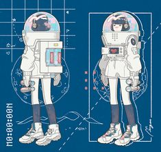 SpacesuitMy illustration is fiction, so please look at the reality if you want a realistic expression. Art And Illustration, Character Illustration, Astronaut Illustration, Character Concept, Character Art, Concept Art, Cartoon Kunst, Cartoon Art, Aesthetic Art
